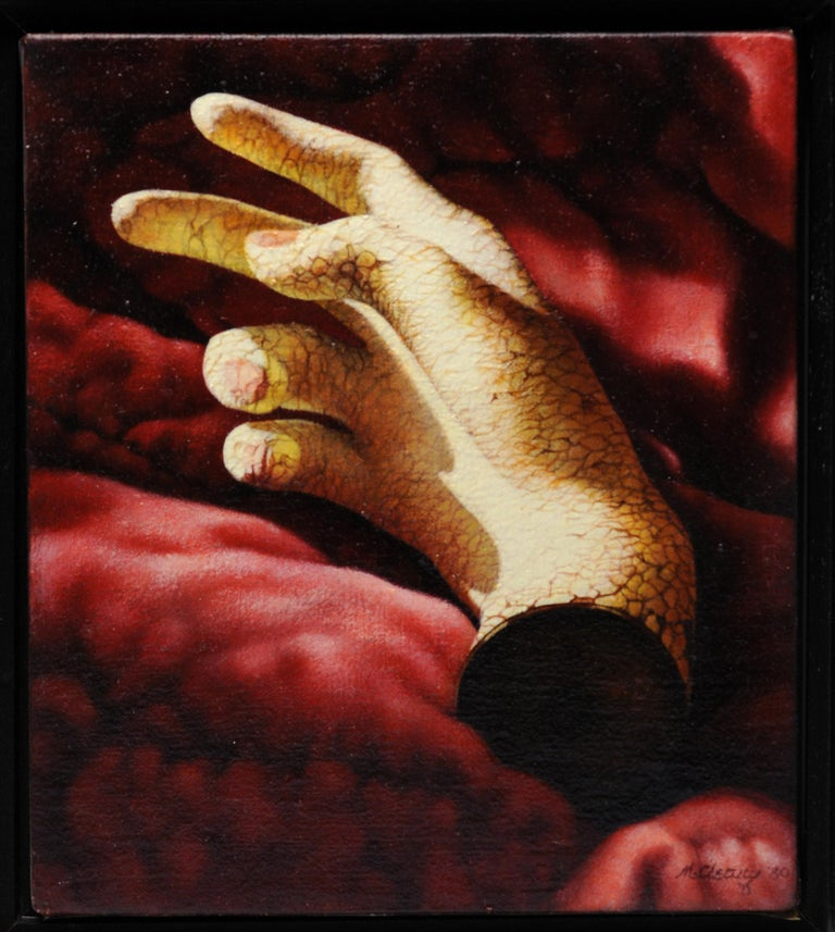 Late 20th Century Manon Cleary Washington DC Photo Realistic Diptych Painting Still Life of Hands For Sale