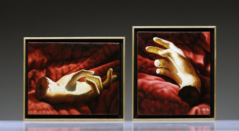 Manon Cleary Washington DC Photo Realistic Diptych Painting Still Life of Hands For Sale 1