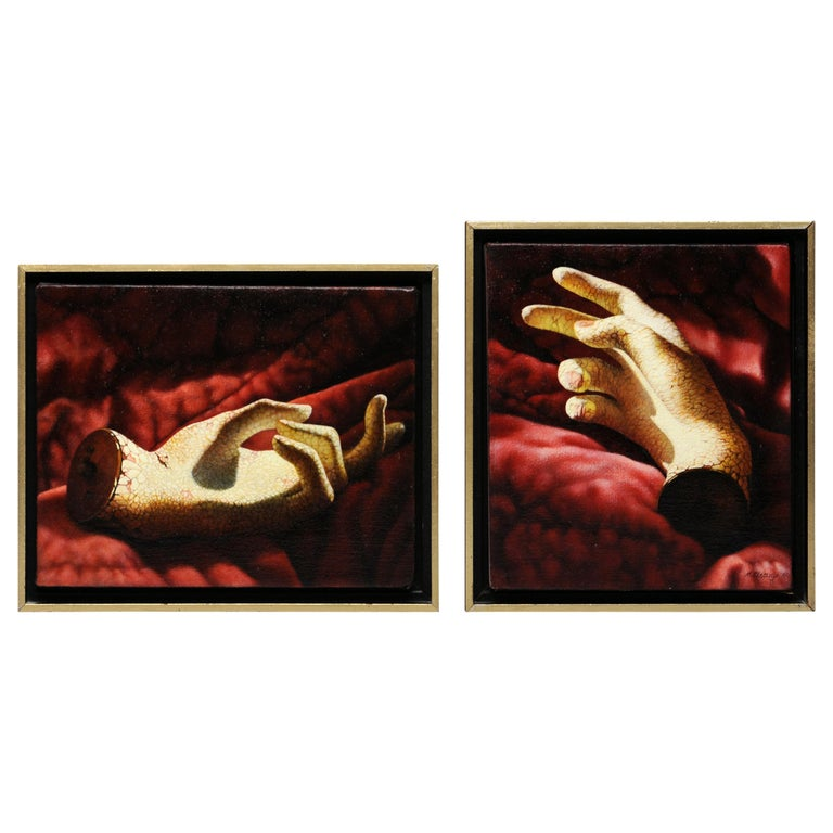 Manon Cleary Washington DC Photo Realistic Diptych Painting Still Life of Hands For Sale