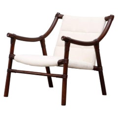 Manou Bamboo Lounge Chair in White Canvas