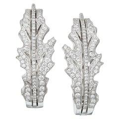 Manpriya B Diamond 18 Karat White Gold Thistle Leaf Hoop Earrings