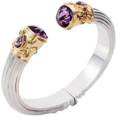 Manpriya B Amethyst, Peridot Yellow Gold and Silver Cuff Bangle