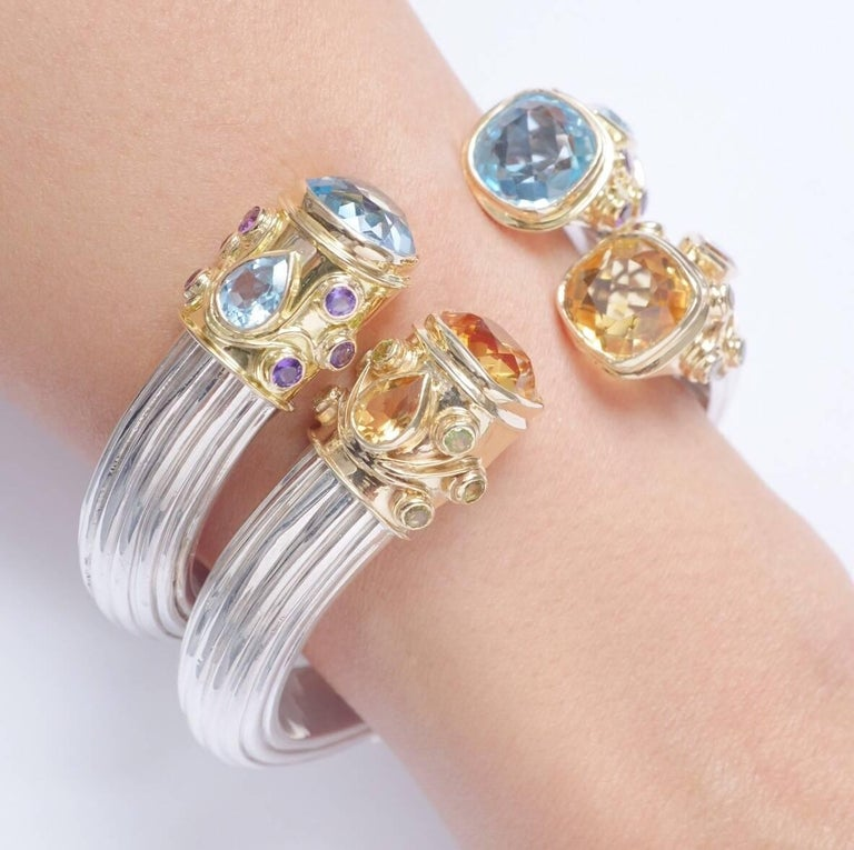 Women's or Men's Manpriya B Blue Topaz, Amethyst Yellow Gold and Silver Cuff Bangle  For Sale