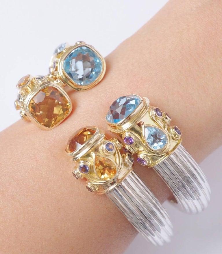 Manpriya B Blue Topaz, Amethyst Yellow Gold and Silver Cuff Bangle  For Sale 3