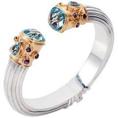Manpriya B Blue Topaz, Amethyst Yellow Gold and Silver Cuff Bangle