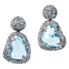 Manpriya B Blue Topaz with White Topaz & Diamonds Silver & 18K Gold Drop Earring