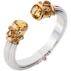 Manpriya B Citrine, Peridot Yellow Gold and Silver Cuff Bangle
