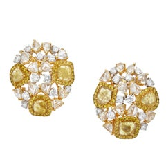 Manpriya B Coloured Slice & Rose-Cut Diamond Golden 18 Karat Cosmos Earrings
