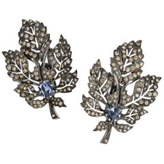 Manpriya B Diamond and Blue Sapphire 18 Karat Gold Black Rhodium Leaf Earrings