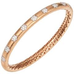 Manpriya B Diamond Flower 18 Karat Rose Gold Bangle Bracelet