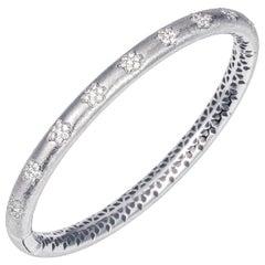 Manpriya B Diamond Flower 18 Karat White Gold Bangle Bracelet