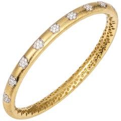 Manpriya B Diamond Flower 18 Karat Yellow Gold Bangle Bracelet
