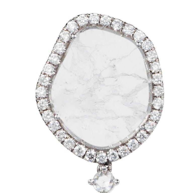 Manpriya B Double Slice & Rose Cut Diamond Drop Diva Earrings in 18k White Gold 3