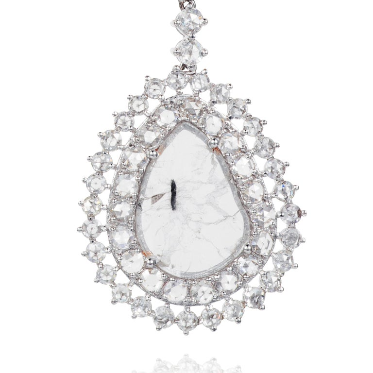 Manpriya B Double Slice & Rose Cut Diamond Drop Diva Earrings in 18k White Gold 4