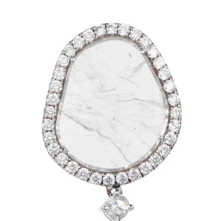 Manpriya B Double Slice & Rose Cut Diamond Drop Diva Earrings in 18k White Gold 5