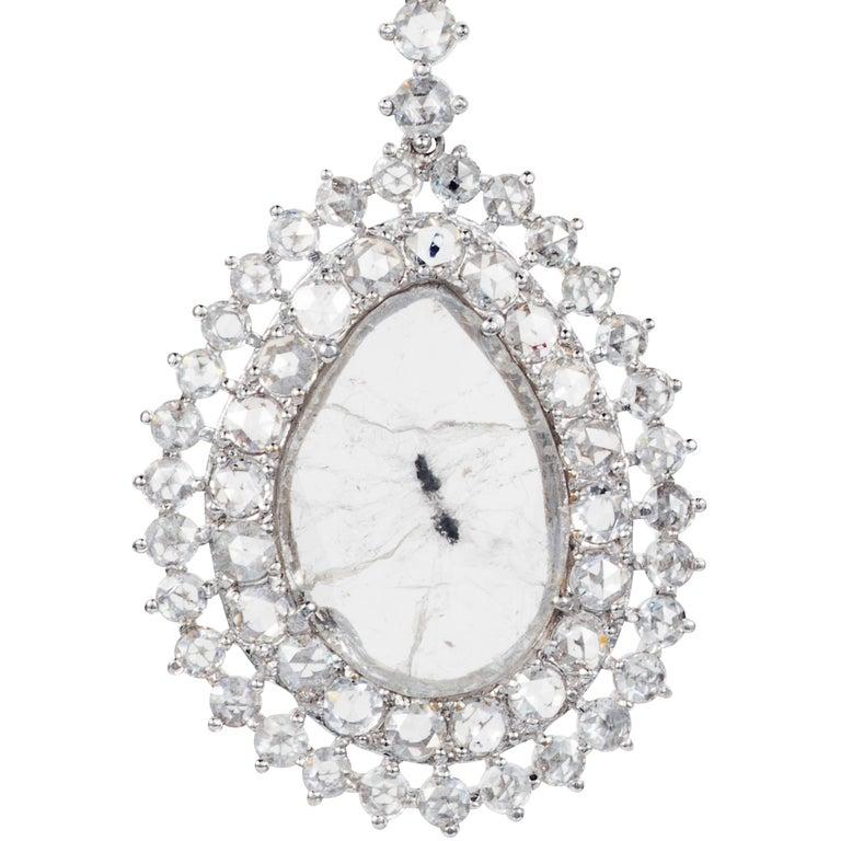 Manpriya B Double Slice & Rose Cut Diamond Drop Diva Earrings in 18k White Gold 6