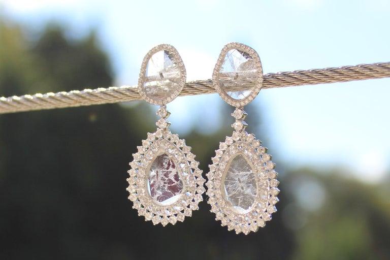 Manpriya B Double Slice & Rose Cut Diamond Drop Diva Earrings in 18k White Gold 7
