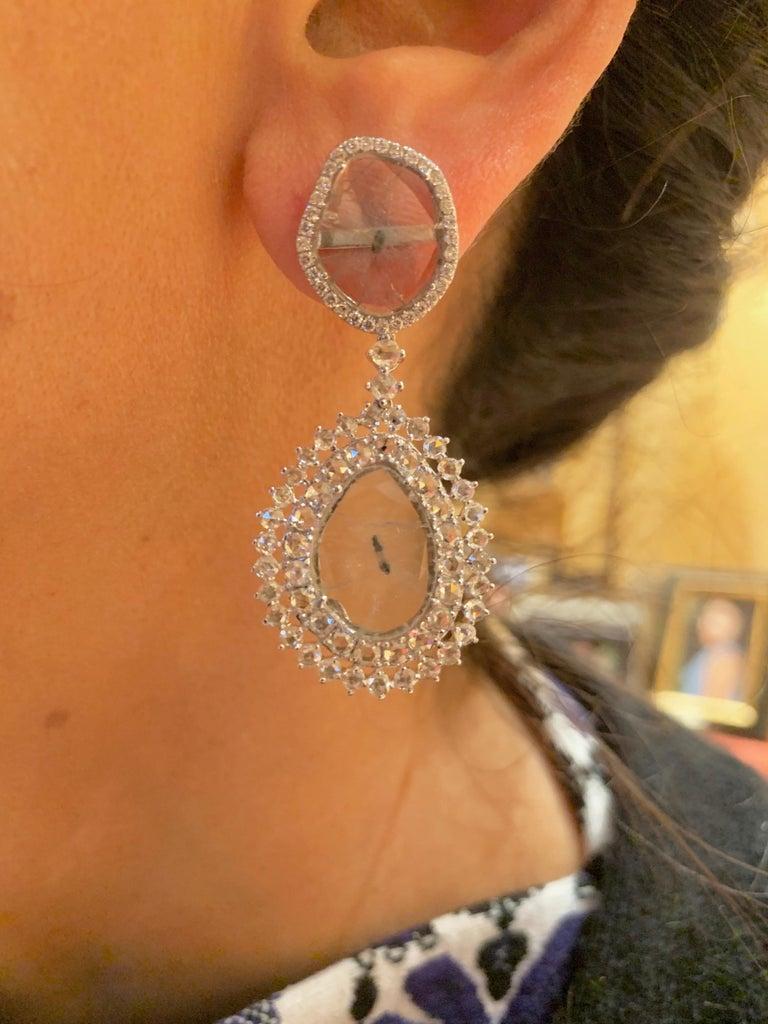 Manpriya B Double Slice & Rose Cut Diamond Drop Diva Earrings in 18k White Gold For Sale 1