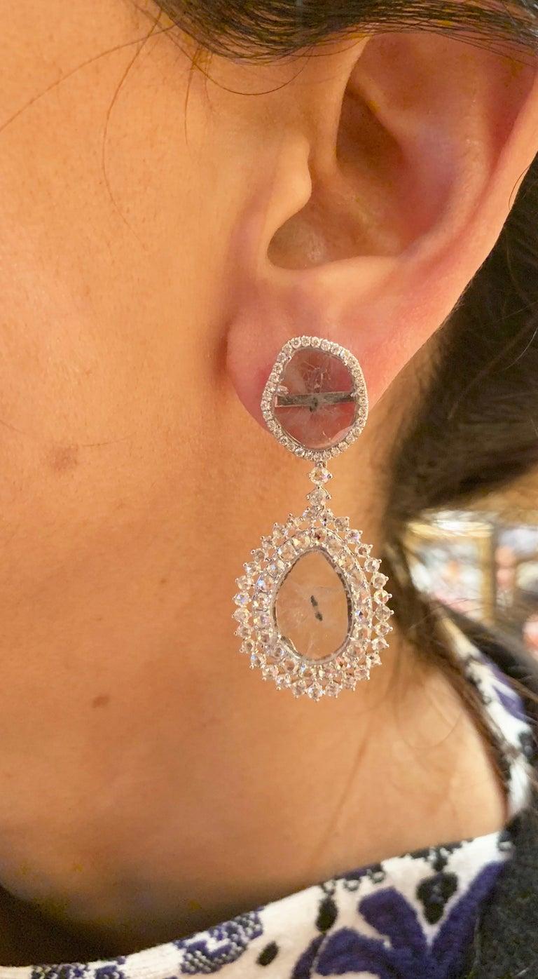 Manpriya B Double Slice & Rose Cut Diamond Drop Diva Earrings in 18k White Gold For Sale 2