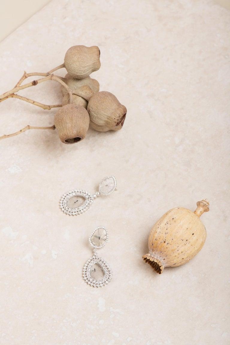 Manpriya B Double Slice & Rose Cut Diamond Drop Diva Earrings in 18k White Gold 8