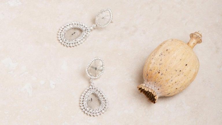 Manpriya B Double Slice & Rose Cut Diamond Drop Diva Earrings in 18k White Gold 9