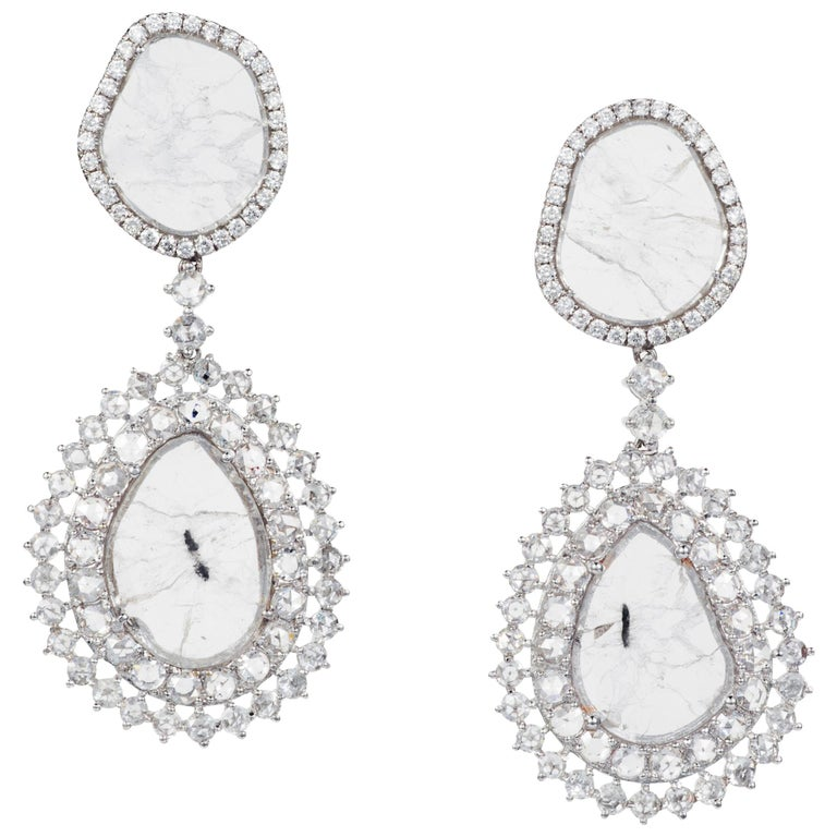 Manpriya B Double Slice & Rose Cut Diamond Drop Diva Earrings in 18k White Gold 1