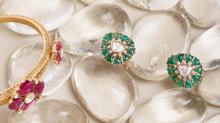 Fancy-cut Emerald and Rose-Cut Diamond Earrings by Manpriya B  5