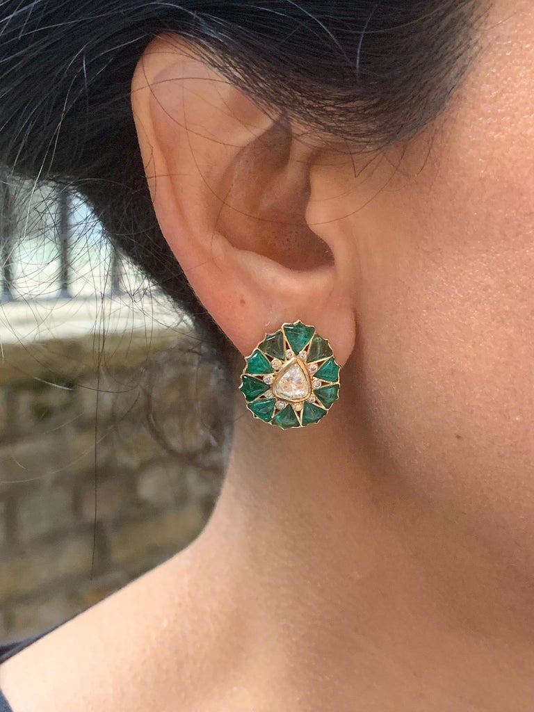 Pear Cut Manpriya B Fancy-cut Emerald and Rose-Cut Diamond Fleurs De L'Inde Earrings  For Sale