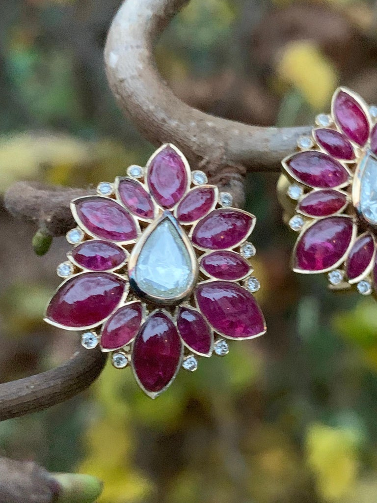 Manpriya B Marquise Ruby & Rose-Cut Diamond 18k Gold Fleurs De L'Inde Earrings 6