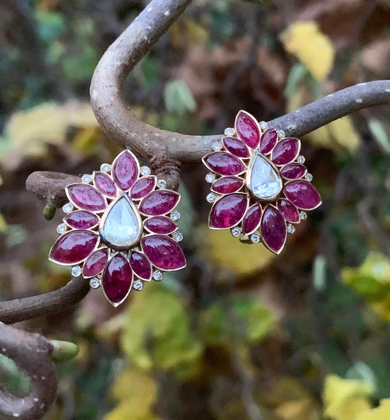 Manpriya B Marquise Ruby & Rose-Cut Diamond 18k Gold Fleurs De L'Inde Earrings 7