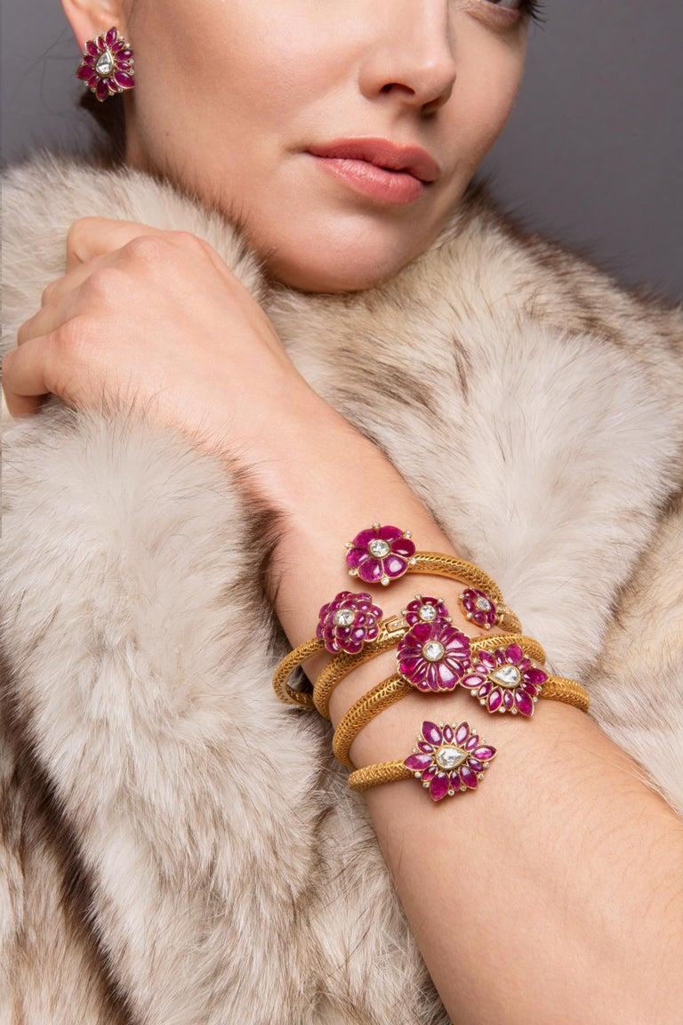 Marquise Ruby and Rose-Cut Diamond 18 Karat Gold Earrings by Manpriya B  3