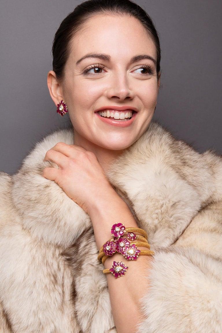 Marquise Ruby and Rose-Cut Diamond 18 Karat Gold Earrings by Manpriya B  4