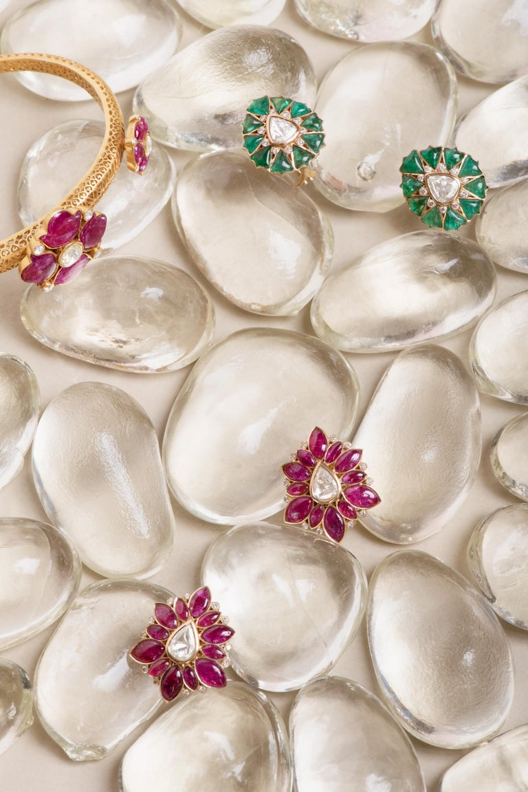 Marquise Ruby and Rose-Cut Diamond 18 Karat Gold Earrings by Manpriya B  6