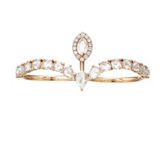 Rose Cut Diamond Double Shank Rose Gold Ring by Manpriya B