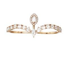 Manpriya B Rose Cut Diamond Double Shank 18K Rose Gold Crown Ring