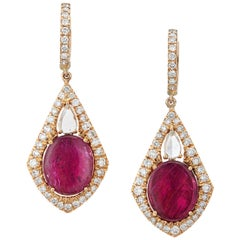 Ruby and Rose Cut Diamond Drop Earrings in 18k Yellow Gold by Manpriya B