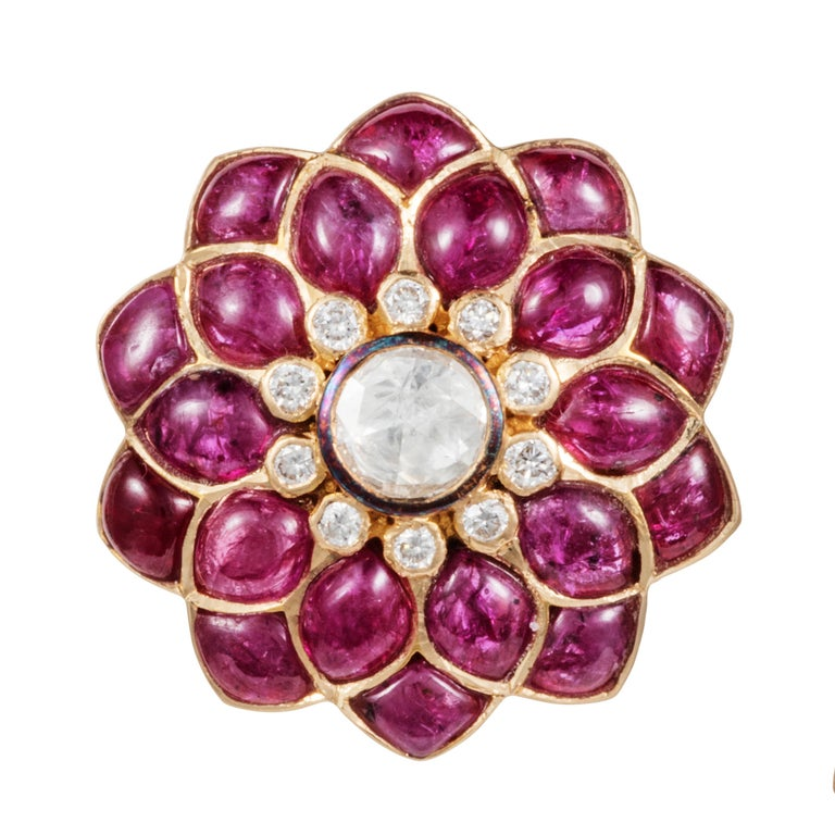 Gross weight : 14.750 grams  Gold 13.020 grams  Diamond 0.35 carats  Rose-Cut Diamond 0.52 carats Ruby 7.51 carats   The Fleurs de l'Inde Collection is inspired by the floral motifs of traditional jewellery worn by Rajasthani royalty.  These