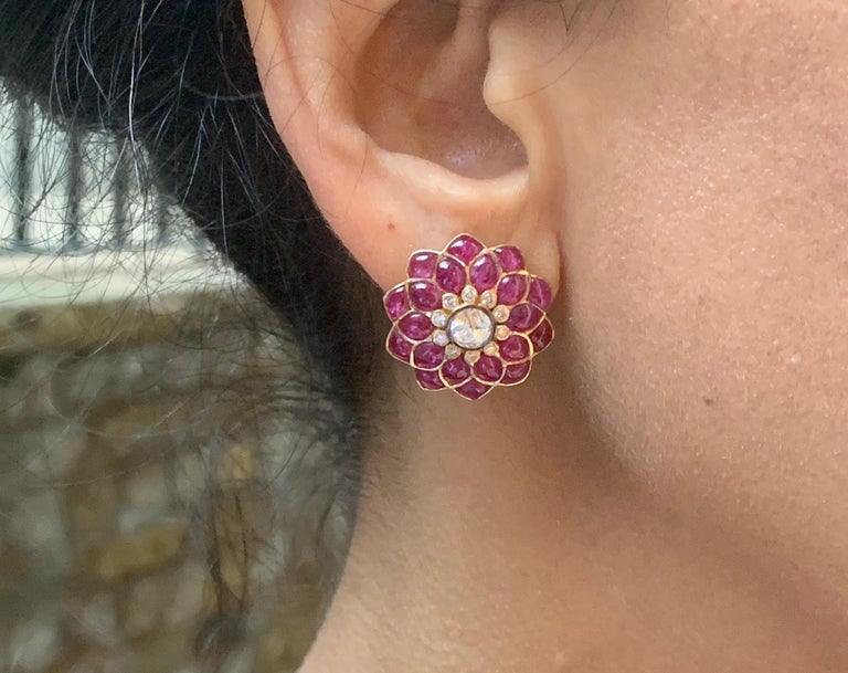 Contemporary Manpriya B Ruby Cabochon & Rose-Cut Diamond 18k Gold Fleurs de L'Inde  Earrings For Sale