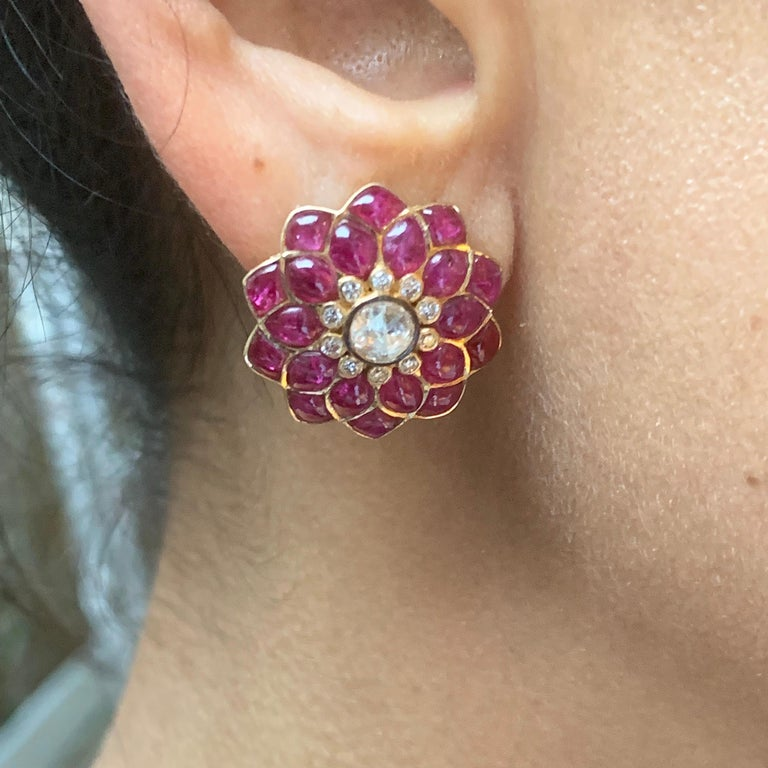 Round Cut Manpriya B Ruby Cabochon & Rose-Cut Diamond 18k Gold Fleurs de L'Inde  Earrings For Sale
