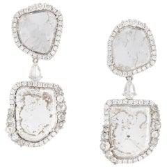 Manpriya B Double Slice and Rose Cut Diamond 18K White Gold Drop Dangle Earrings