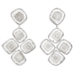 Manpriya B Slice and White Diamond, Gold Cinque Chandelier Earrings