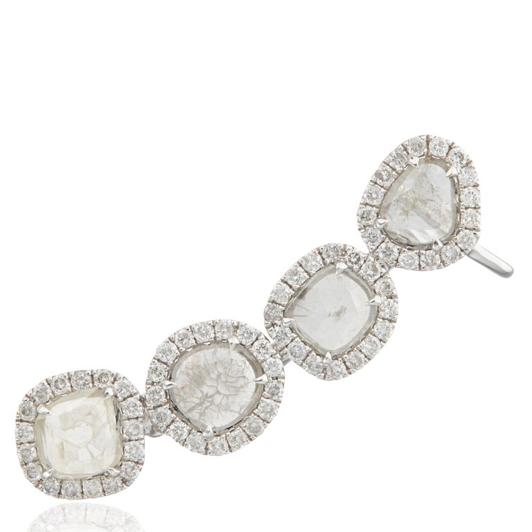 Manpriya B Slice Diamond and Diamond 18 Karat White Gold Diva Climber Earrings In New Condition For Sale In London, GB
