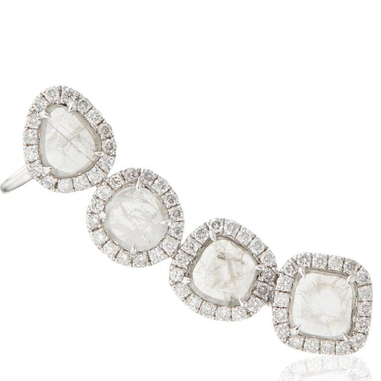 Women's or Men's Manpriya B Slice Diamond and Diamond 18 Karat White Gold Diva Climber Earrings For Sale