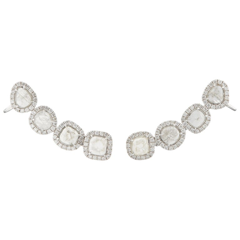 Manpriya B Slice Diamond and Diamond 18 Karat White Gold Diva Climber Earrings For Sale