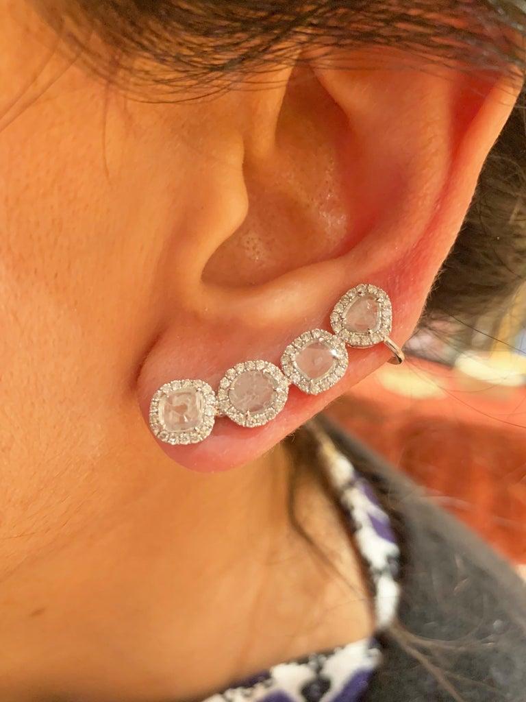 Manpriya B Slice Diamond and Diamond 18 Karat White Gold Diva Climber Earrings For Sale 4