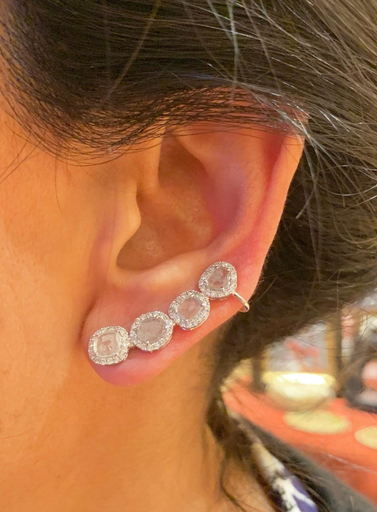 Manpriya B Slice Diamond and Diamond 18 Karat White Gold Diva Climber Earrings For Sale 5