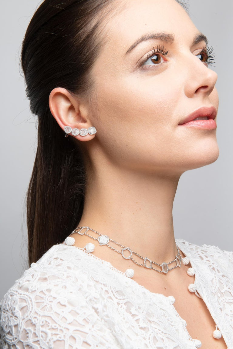 Modern Manpriya B Slice Diamond and Diamond 18 Karat White Gold Diva Climber Earrings For Sale