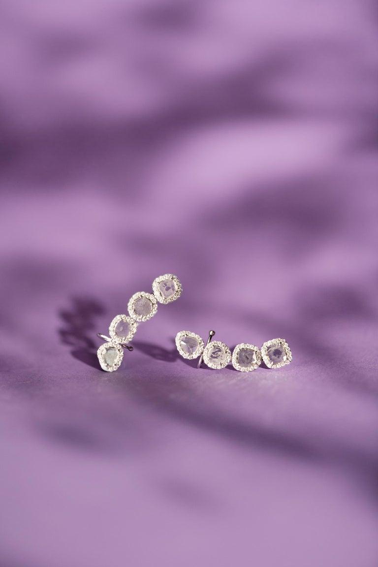 Rose Cut Manpriya B Slice Diamond and Diamond 18 Karat White Gold Diva Climber Earrings For Sale