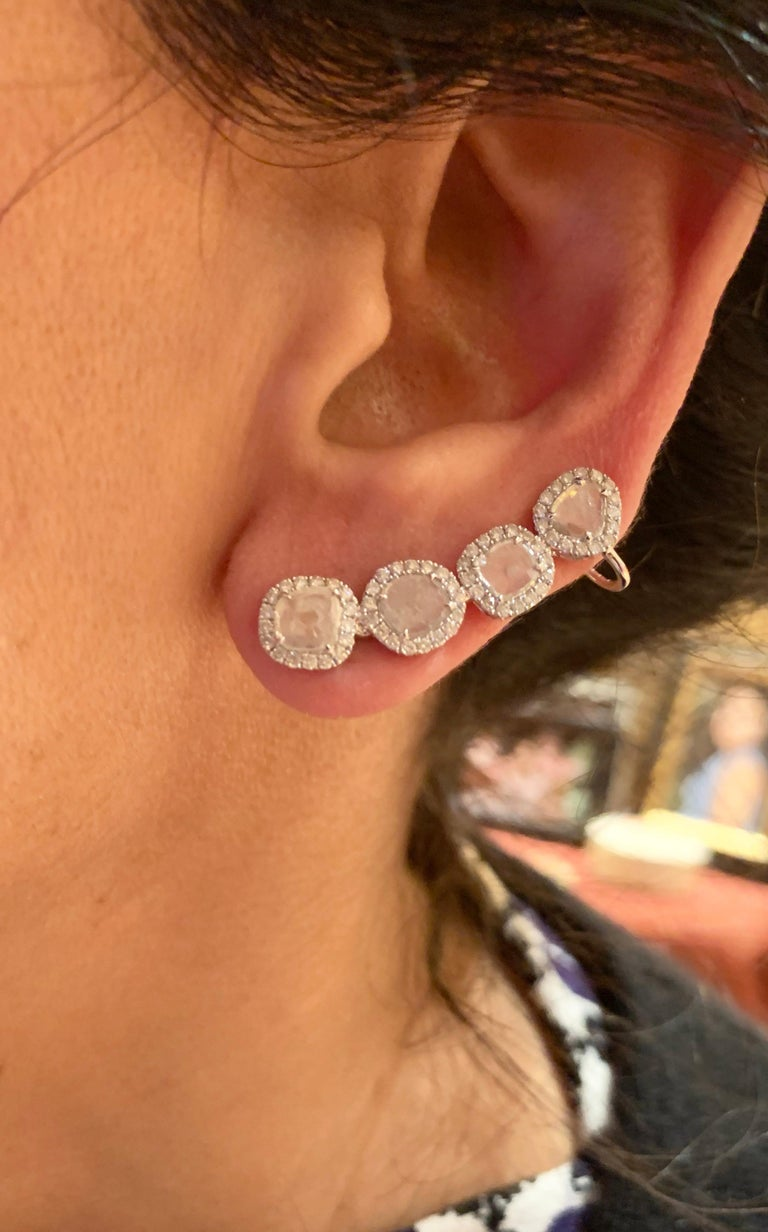 Manpriya B Slice Diamond and Diamond 18 Karat White Gold Diva Climber Earrings For Sale 2