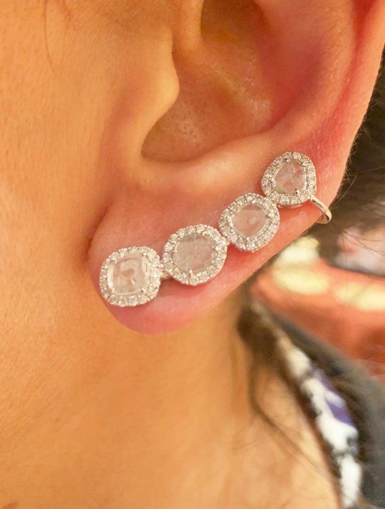 Manpriya B Slice Diamond and Diamond 18 Karat White Gold Diva Climber Earrings For Sale 3